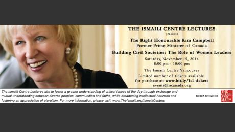 Live Webcast: Former Prime Minister of Canada, The Right Honourable Kim Campbell to speak at the Ismaili Centre, Burnaby