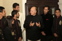 India, 2013 -Mawlana Hazar Imam speaks with murids who performed at the institutional banquet leadership (Photo: The Ismaili/Nazim Lokhandwala)