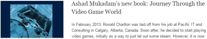 Ashad Mukadam's new book: Journey Through the Video Game World