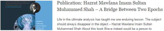 Publication: Hazrat Mawlana Imam Sultan Muhammed Shah – A Bridge Between Two Epochs