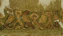 Qasab fragment with ducks and parrots Gauzy linen tabby with silk and gold tapestry Egypt Mid-11th century 980.78.111.A Wilkinson Collection, Gift of Albert and Federico Friedberg (ROM)