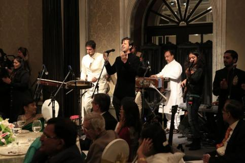 India, 2013 - At the institutional banquet, musicians Salim and Sulaiman, accompanied by six youth from across India, perform before the Imam and the Jamati leadership (Photo: The Ismaili/Nazim Lokhandwala)