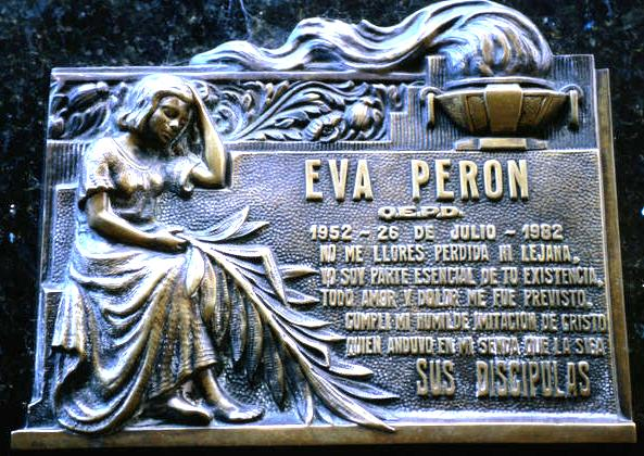 The resting place of Eva Peron the first lady of argentina from 1946 until her death in 1952 la recoleta cemetery contains the graves of many notable people from Argentina