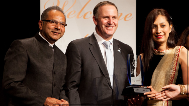 "Shiraz & Shams Hajee: Ismaili couple from New Zealand presented with ""Excellence In Retail Business"" Award by Prime Minister John Key."