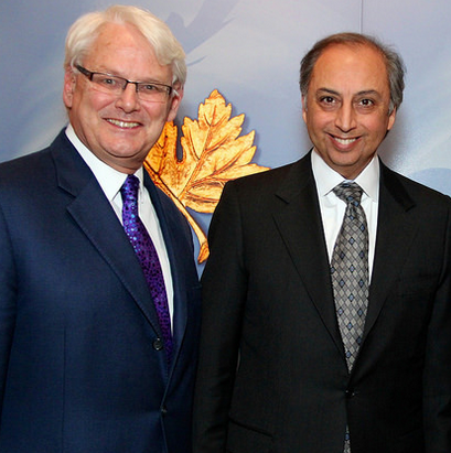 From Ismailimail Archives - December 2014: Left to right Mr. Gordon Campbell, Canada's High Commissioner to the United Kingdom and Canada's Representative to the Ismaili Imamat, with Dr. Mahmoud Eboo,Aga Khan Development Network's Resident Representative to Canada in London on the occasion of the Diefenbaker Award. (Image credit DFATD)