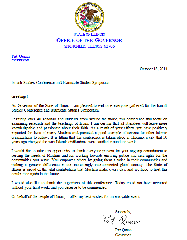 Governor Pat Quinn U2019s Welcome Letter For The Ismaili
