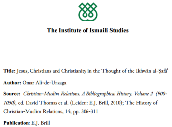Jesus, Christians and Christianity in the Thought of the Ikhwān al-Ṣafāʾ