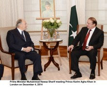 Pakistan's Prime Minister Muhammad Nawaz Sharif praises services of Prince Karim Aga Khan across the world