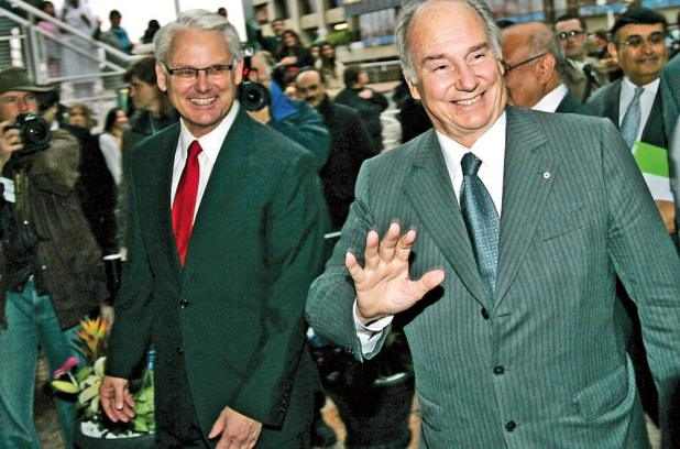 Premier Gordon Campbell, left, escorts the Aga Khan into the Pan Pacific Hotel, Vancouver - Golden Jubilee - 2008