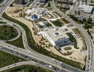 The Aga Khan Museum (foreground), shares a plaza with Ismaili Centre (shown at top left). (Photo © Kalloon Photography via Architectural Record)
