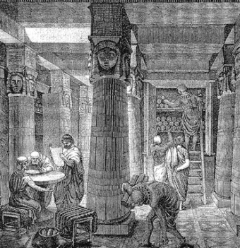 Artistic rendering of the Library of Alexandria, based on archaeological evidence. O. Von Corven, 19th century