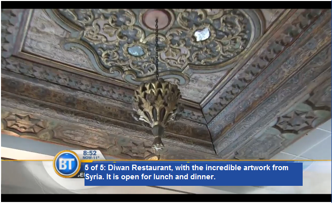 5 of 5: Diwan Restaurant, with the incredible artwork from Syria. It is open for lunch and dinner. (via Breakfast Television)