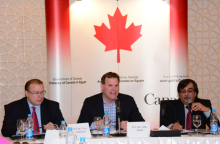 Canada's Foreign Affairs Minister John Baird attends a roundtable with youth from ILO Decent Jobs Project