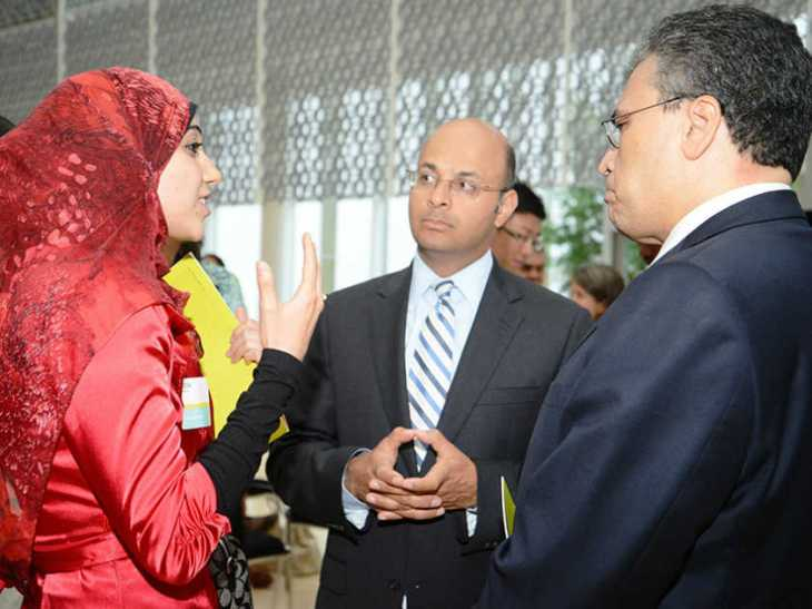 Hoda Mroue with Mr. Khalil Z. Shariff, Chief Executive Officer at AKFC (center) and Mr. Mohamed Fakhry Minister Plenipotentiary & Deputy Head of Mission for Egypt (right) at the Aga Khan Foundation Canada's 25th Anniversary Celebration of the International Youth Fellowship Program. (Image Courtesy of Hoda Mroue)