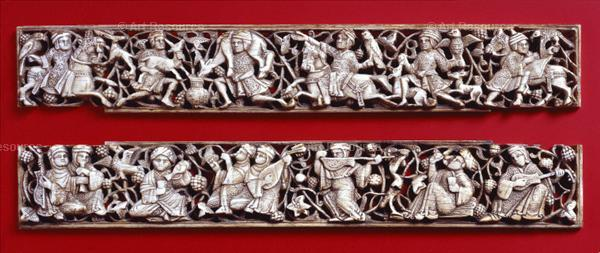 Ivory frame (likely for a book cover) with Princely cycle imagery. Relief carvings, ivory. Fatimid (Egpyt) 11th century. (Image via Studyblue)