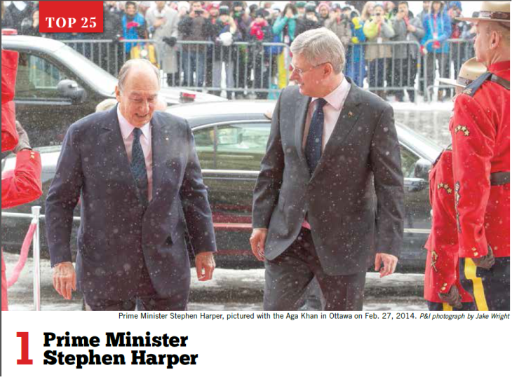 Power and Influence - Hill Times - Winter 2015 -HH Aga Khan with Prime Minister Harper