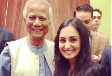 Salima Visram with Nobel Peace Prize Laureate Muhammad Yunus
