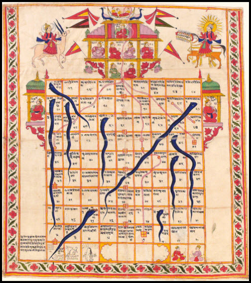 Game of Snakes & Ladders, painted on cloth, India, 19th century.  Victoria and Albert Museum, London