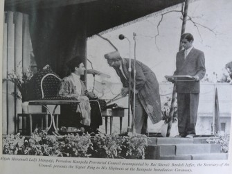 Takht Nashini Kampala Aga Khan IV and Sherali Bandali Jaffer and Hassanali Lalji Mangalji (Image Ismaili.net)