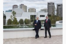 The Aga Khan, left, with Prime Minister Stephen Harper at the opening of the Ismaili Centre and the Aga Khan Museum on Sept. 12, 2014. Picture taken at the terrace on top of the Ismaili Centre building with the Aga Khan Museum in the background. (Image: Aaron Vincent Elkaim / THE CANADIAN PRESS)