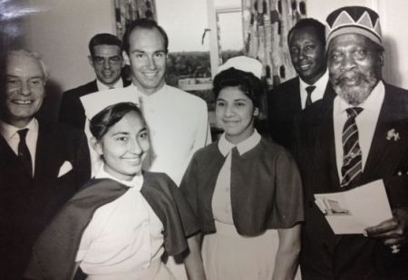 Aga Khan at Aga Khan Hospital Nairobi with nurse in 1960s
