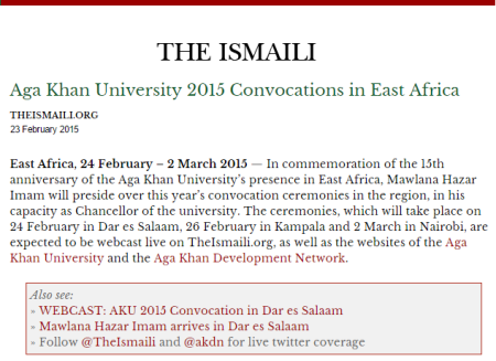 Live Webcast: Aga Khan University 2015 Convocations in East Africa with Chancellor His Highness the Aga Khan Presiding the Ceremonies