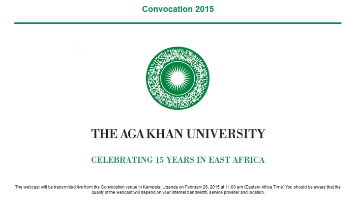 AKU Convocation Kampala Uganda Webcast