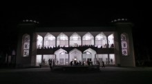 Karimabad Jamatkhana at night. Surat, Gujarat, India