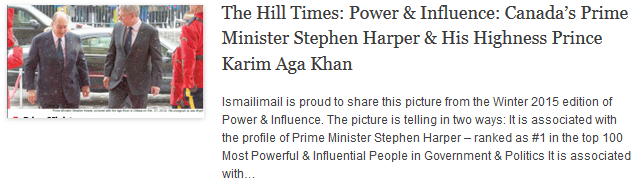 The Hill Times - Power & Influence - Canadas Prime Minister Stephen Harper & His Highness Prince Karim Aga Khan