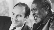 The Aga Khan with the first president of Kenya Jomo Kenyatta. AKDN has created development projects in education, communication, tourism and more, in many areas especially in Africa and Asia. (Image via CCTV/CNTV)