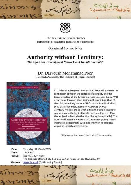 Event – March 12 | The Institute of Ismaili Studies | Daryoush Mohammad Poor's Book Launch: Authority Without Territory