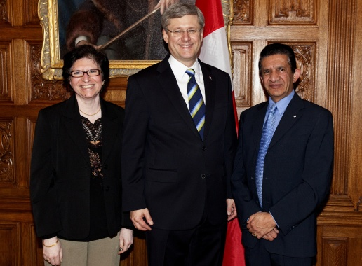 Sultan and his wife Rosila with Canada's Prime Minister Stephen Harper