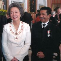 Sultan with Canada's former Governor General Adrianne Clarkson after receiving the Order of Canada