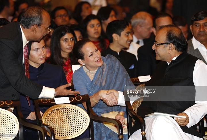 Princess Zahra Aga Khan, eldest daughter Aga Khan shakes hand with Union Finance minister Arun Jaitley