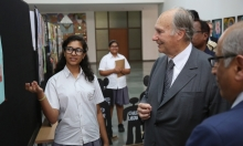 Aga Khan Academy student Khushboo presents her research project about starting a library in a local girls school to Mawlana Hazar Imam. The research project is a final component of the International Baccalaureate Middle Years Programme. (Image credit: AKDN / AHMED CHARANIA via TheIsmaili.com)