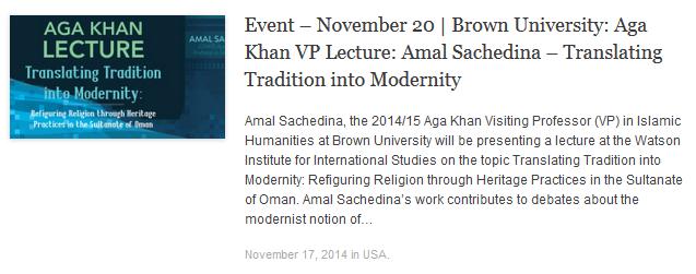 Amal Sachedina - Brown University - Translating Tradition into Modernity