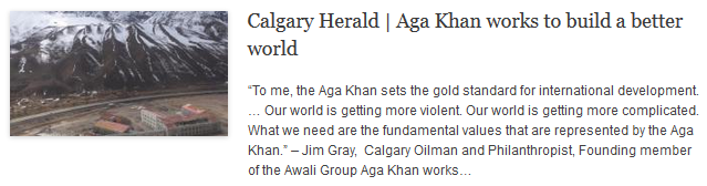 Calgary Herald- Aga Khan works to build a better world