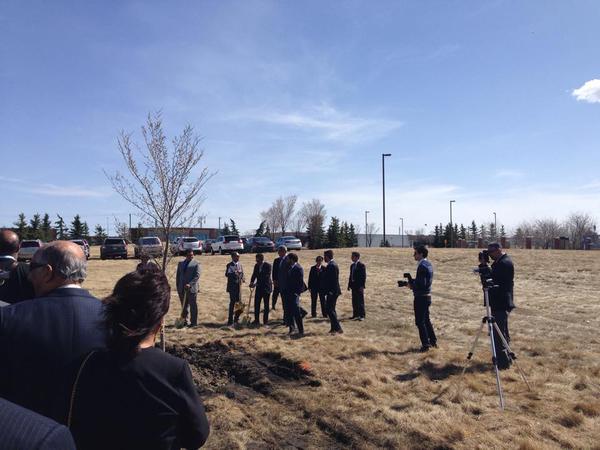 2015-04-11: Calgary Jamatkhana groundbreaking (Image credit: Farhad Mortazaee via Al-Karim Walli's Tweet)