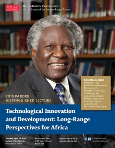 Dr. Calestous Juma, member of the AKU Board of Trustees delivers 2015 Pardee Distinguished Lecture at Boston University Poster