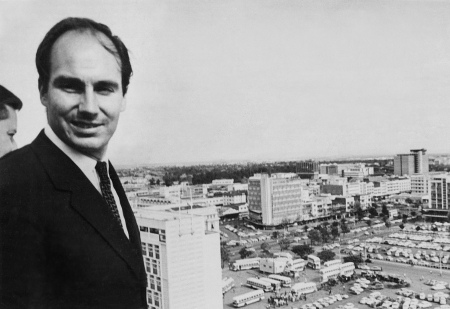 hh the aga khan viewing nairobi from the top floor o the newly opened ips building on kimathi street march 1967