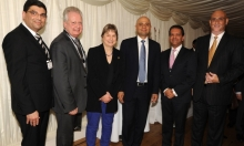 MPs Angie Bray, Eric Ollerenshaw and Secretary of State Sajid Javid, with Ismaili Council President Amin Mawji and other Jamati leaders at the Houses of Parliament Navroz reception. (Image credit: Riaz Kassam via TheIsmaili.com)