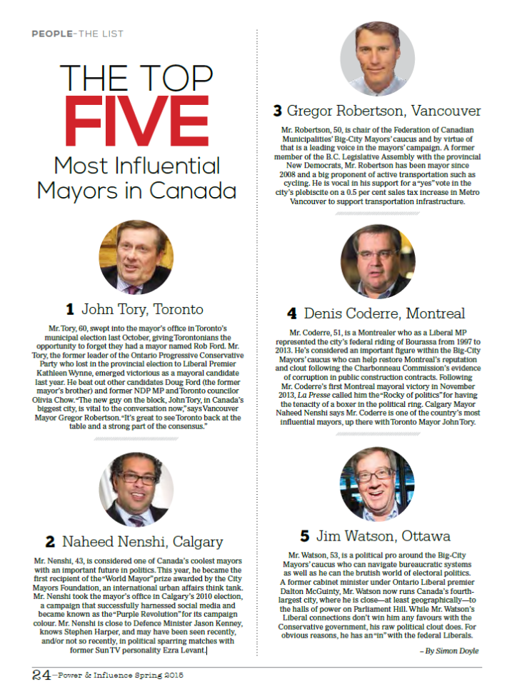 Power & Influence - spring 2015 - The top 5 most inflential Mayors in Canada
