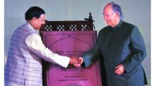 Minister Mahesh Sharma with His Highness the Aga Khan on Tuesday. (Source: Express Photo by Neeraj Priyadarshi)