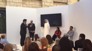 Sultan Al Qassemi at Art Dubai Terrace Talks announcing Barjeel Art exhibition to be featured at Aga Khan Museum, Toronto in summer of 2015 in the presence of Arif Lalani, Canada's Ambassador to UAE and Henry Kim, CEO of Aga Khan Museum (holding mike) (Image via Sultan Al Qassemi Tweet)