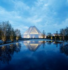 The reflecting pool of the Aga Khan Park, mirroring the roof of the Ismaili Centre, Toronto at dusk. (Photo: Janet Kimber via Digital Journal)