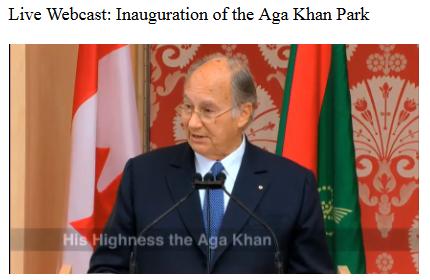Aga Khan Park - Live Webcast