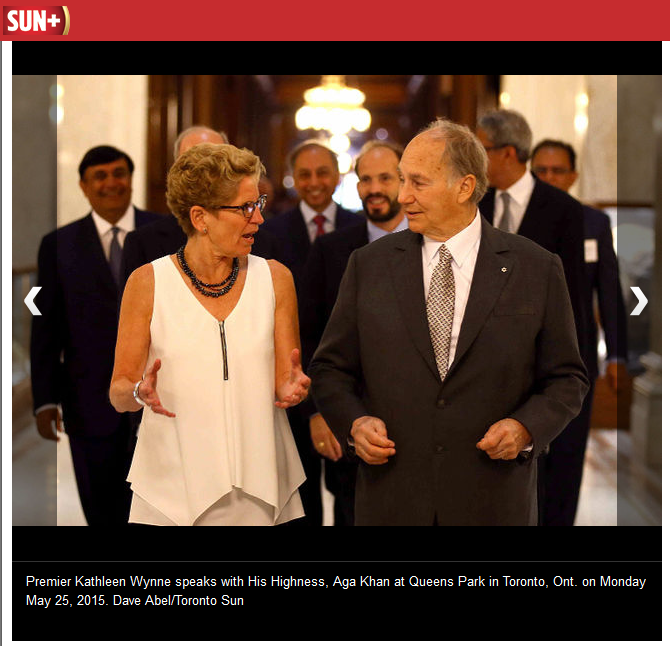 Premier Kathleen Wynne speaks with His Highness, Aga Khan at Queens Park in Toronto, Ont. on Monday May 25, 2015. Dave Abel/Toronto Sun
