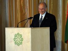 The Aga Khan addresses attendees at the opening ceremony for the Aga Khan Park (image via Torontoist)