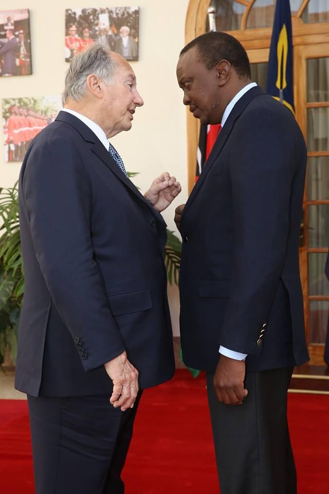 His Highness Prince Karim Aga Khan with Kenya's President Uhuru Kenyatta, son of Kenya's 1st President Jomo Kenyatta (Image Credit Heka Heka)