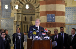 """His Highness the Aga Khan speaking at the inauguration of the restoration of the """"Blue Mosque"""" in Cairo, 2 May 2015. ( Photo: AKTC/Gary Otte via AKDN)"""